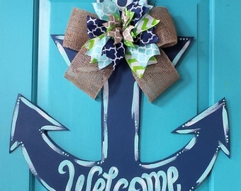 Anchor Wood Door Hanger by SimplyaDOORable. Anchor Door Decor Anchor Anchor Door Hanger & Anchor door hanger | Etsy Pezcame.Com