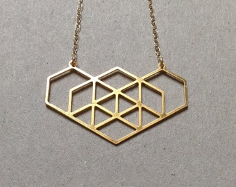 Gold Geometric Hexagon Necklace