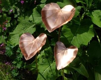 Copper leaf garden bird feeder sculpture