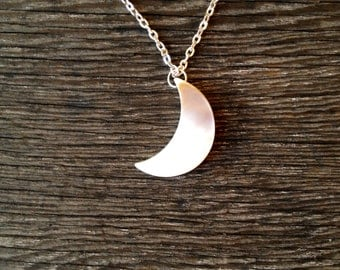 Crescent Moon Necklace - Pearl - Moon Necklace - Silver