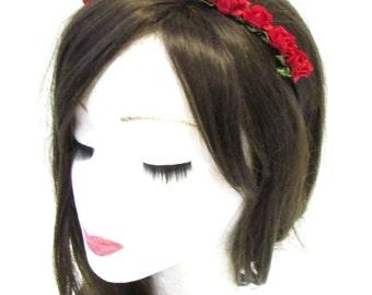 Small Red Rose Flower Garland Hair Crown Headband Festival Bridesmaid Boho 834