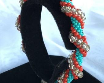 RWB Beaded Spiral Bracelet B167-802