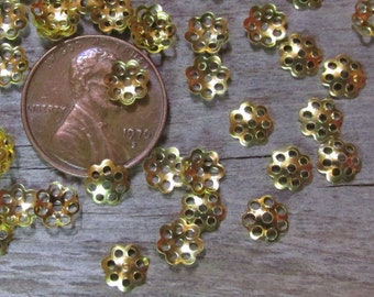 Gold Toned 6mm Filigree Style Lacy Little Bead Caps- Lightweight Stamped Metal (Iron based)-  Lots of 100 or 500
