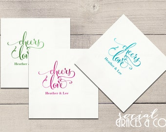 Cheers Love Wedding Napkins • Monogrammed Party Accessories • Weddings • Bridal Showers • Engagement Parties • Letterpress Foil