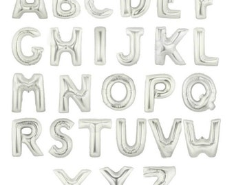 Silver Mylar Letter Balloons | Party Decor, Graduation, Birthday Party, Anniversary, Baby Shower