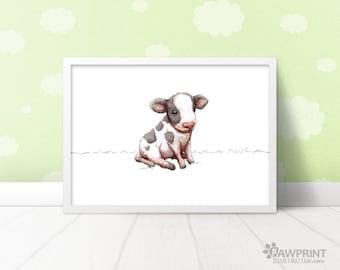 Baby Cow Nursery Art Print - cute calf print - 4 Sizes Available