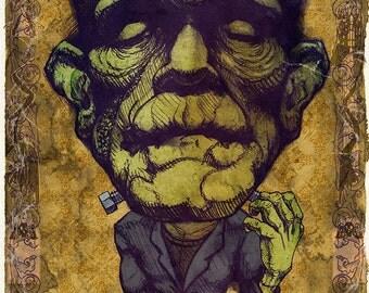 Frankenstein Boris Karloff Art Print by award winning artist Brady Stoehr