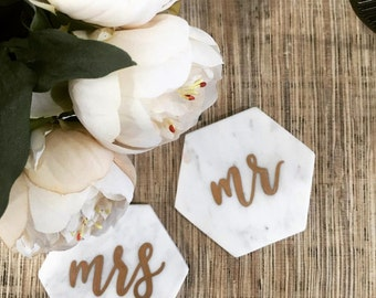 Personalised Marble Hexagon Coasters + Place Cards (BULK PRICING AVAILABLE)