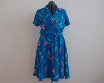 Vintage 1980's Sears Blue and Pink Hawaiian Print Cotton Shirt Dress with Full Skirt