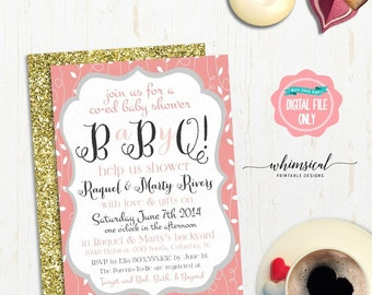 co ed baby shower printables barbeque bbq jack and jill shower leaves