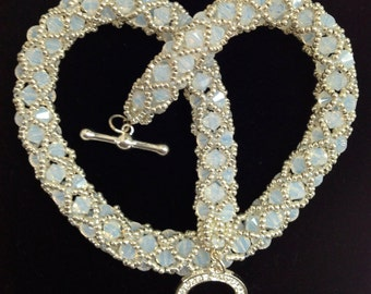 Swarovski White Opal Netted Necklace  #Bridal Jewelry