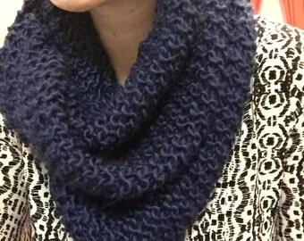 Hand-knit indigo infinity scarf