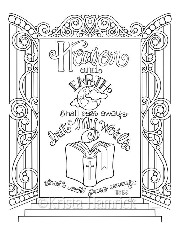 the bible is gods word coloring pages   My Words Shall Not Pass Away coloring page 8.5X11 Bible