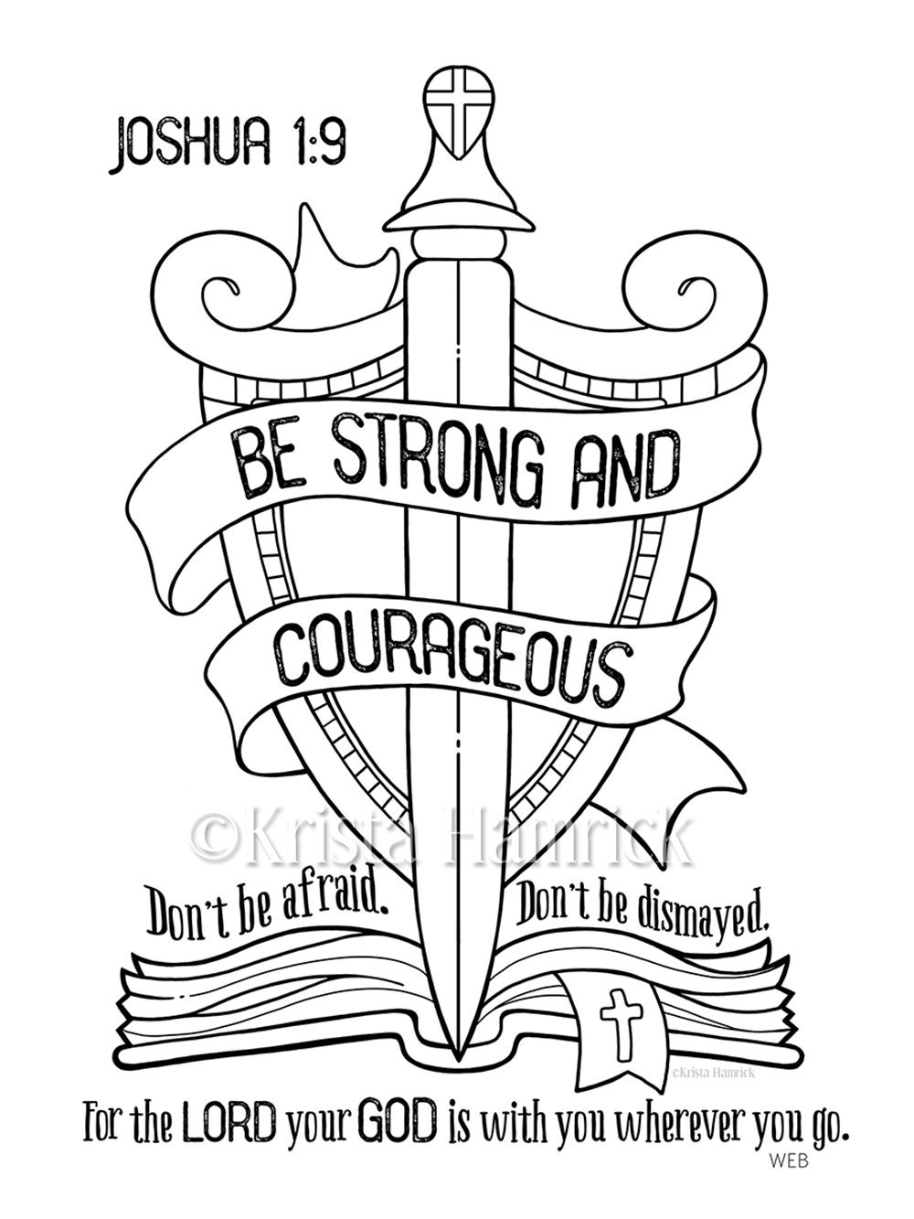 be strong and courageous coloring page 8 5x11 bible
