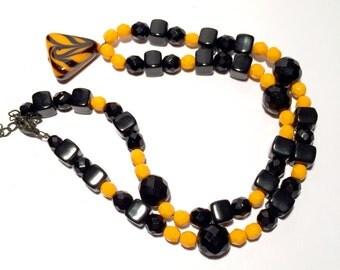 Czech Glass Necklace, Orange Black Necklace, Orange Venetian Necklace
