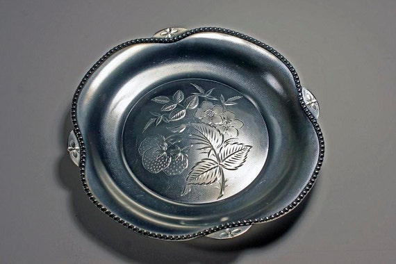 Antique Silver Plate Tray, Rockford Silver Plate Co, Strawberry Pattern, Satin Finish,