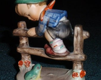 Retreat To Safety Goebel Hummel Figurine #201 2/0 TMK4 Boy On Fence With Frog - Great Collectible Vintage Mother's Day Gift!