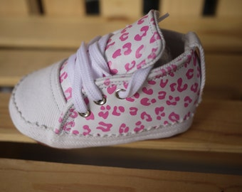 Girls Handmade Baby shoes 9  12 months Leather and Denim