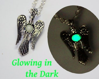 green necklace daughter gift angel necklace gift/for/sister jewelry white pendant necklace angel jewelry gift/for/niece silver necklace Ся23