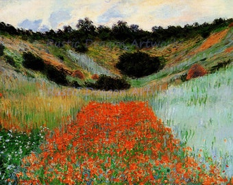 "Claude Monte ""Poppy Fileld in a Hollow near Giverny"" 1885  Reproduction Digital Print Wild Flowers Northern France"