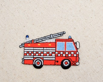 Rescue - Fire Engine - Truck - Large - Iron on Applique - Embroidered Patch - 159592A