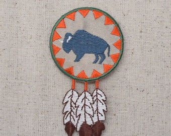 Indian - Buffalo Round with Feathers - Southwest - Iron on Applique - Embroidered Patch - 695656-A