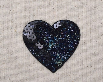 Black - Sequin Heart - Valentine - Large - Iron on Applique - Embroidered Patch - 1117897