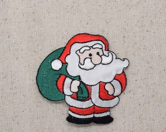 Christmas - Santa Claus - Green Gift Bag - Presents - Iron on Applique - Embroidered Patch - 151761A