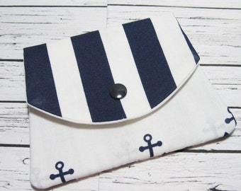 Fabric Women's Wallet, Navy Anchor Stripes Cotton Fabric Credit Card Holder, Fabric Coin Purse, Gift For Her Under 20