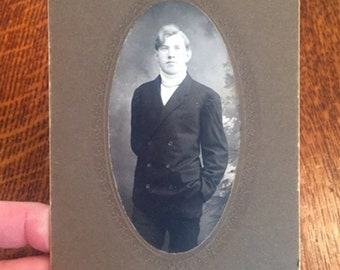 Antique Studio Cabinet Card Photograph of Young Man c. 1910
