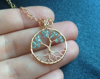 Small Apatite Tree of Life Gold Pendant March Birthstone
