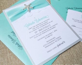 Turquoise Quinceanera Invitations gangcraftnet