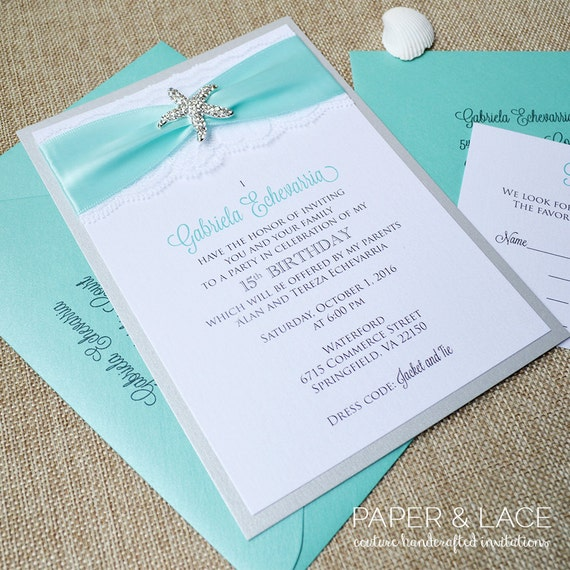 STARFISH - Beach Inspired Sweet 16 / Quince Invitation - Silver Starfish Brooch with White Lace and Aqua Ribbon - Custom Colors Available