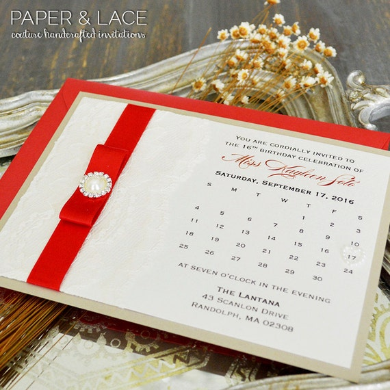 CALENDAR Sweet 16 Invitation - Red and Champagne Invite with Ivory Lace, Red Ribbon, Pearl Button and Pearl Heart - Custom colors available