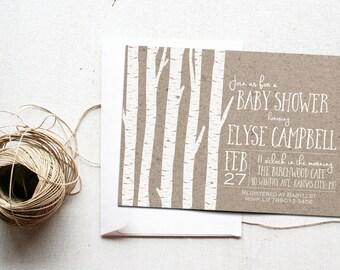 Summer Baby Shower Invitation Printable, Birch Wood Tree Woodland, Woods Invite, Rustic Invitations, Gender Neutral, Bridal Shower