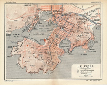 1911 Piraeus Athens Greece Antique Map