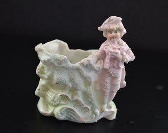 Bisque Match Holder German Figurine Porcelain Match Safe