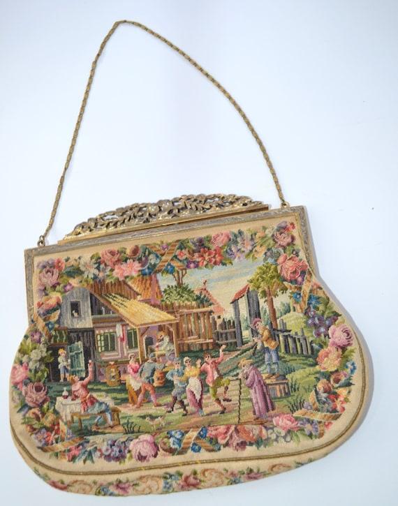 Reserved for ELIDA Antique Petit Point Purse Tapestry Handbag
