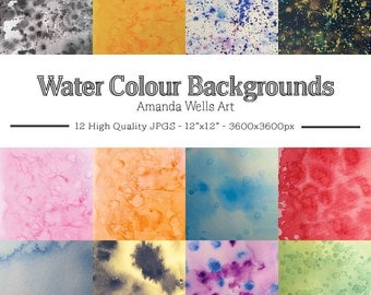 Watercolour Backgrounds - Digital Papers, Watercolor Washes, Watercolour Patterns, Bright Colours, Real Texture