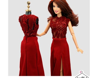 Barbie Dress- Red Lace Barbie Gown -Handmade Barbie Clothes by Lovemade-Fashion Doll Clothes