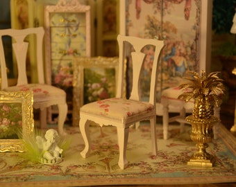 Miniature 1:12 scale, French Romantic Chair, Dollhouse, French Furniture, Armchair, Boudoir