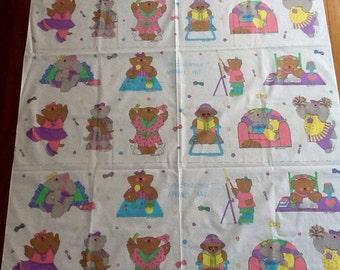 "Vintage cotton fabric Sue Dreamer Apparel Art Girl Bears 40 Bears panel 44""x70"" decoupage, quilting, appliques"