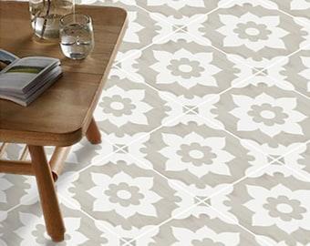 Vinyl Floor Tile Sticker - Floor decals - Carreaux Ciment Encaustic Campagne Tile Sticker Pack in Sand