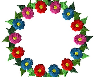 Flower Wreath frame Embroidery Design 3 SIZES / INSTANT DOWNLOAD 4x4 5x7 6x10