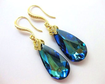 Bermuda Blue Swarovski Crystal Teardrop Gold Earrings Wedding Jewelry Bridesmaid Gift Bridal Earrings Blue Earrings(E001)