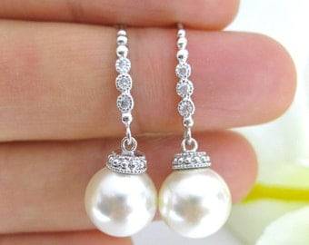 Bridal Pearl Earrings Wedding Jewelry Swarovski 10mm Round Pearl Earrings Bridesmaid Gift Silver Earrings (E132)