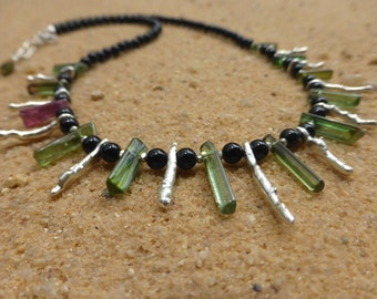 Tourmaline Necklace Hill Tribe Silver Gemstone Necklace Green Pink Artisan Delicate Tourmaline Stick Necklace Semi Precious Agate Statement