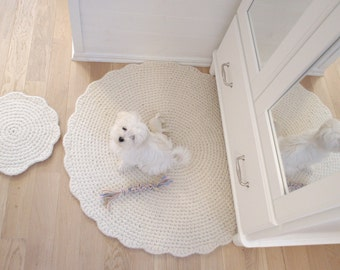 Pet Mat Wool Crochet - Hand crochet cat dog bed - wool pet bed pad - crochet round rug - pet sleeping place