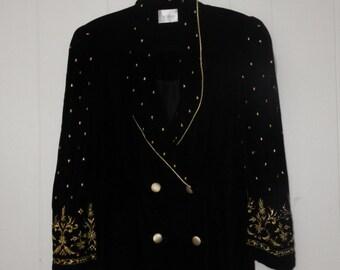 velvet embroidered jacket - velvet jacket - black velvet jacket - velvet vintage - black jacket