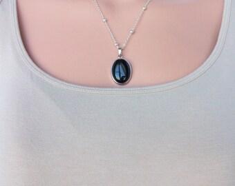 Black Onyx Pendant on Silver Chain Oval Black Onyx Necklace Simple Genuine Black Onyx Necklace Different Black Onyx Gemstone Necklace N0764